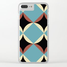 Frontal Fishes with squared blue mouths in a black deep sea. Clear iPhone Case