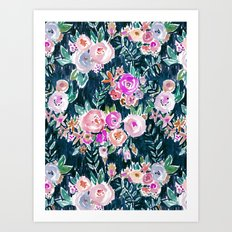 PROFUSION FLORAL - MIDNIGHT Art Print