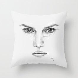 Rey/Daisy Ridley Portrait Throw Pillow