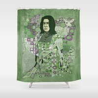 snape Shower Curtains featuring Portrait of a Potions Master by Karen Hallion Illustrations