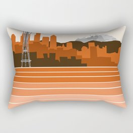 Seattle retro travel poster 70s color vibes minimal washington state gifts Rectangular Pillow