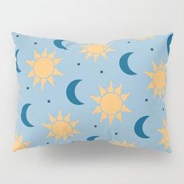Sun & Moon Pattern - Light Blue Pillow Sham