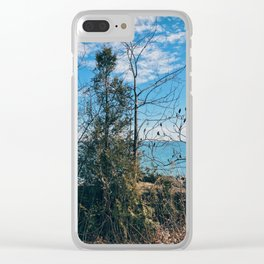 On the blue horizon Clear iPhone Case
