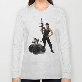 Swat Chick- Girl with SWAT Gear, Military Gun and Tactical Robot Long Sleeve T-shirt
