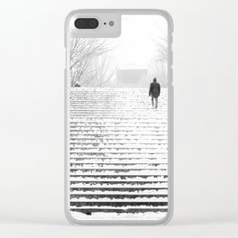Man in Snow Clear iPhone Case