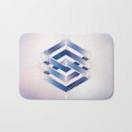Indigo Hexagon :: Floating Geometry Bath Mat