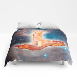 Bacon Surfing Cat in the Universe Comforters