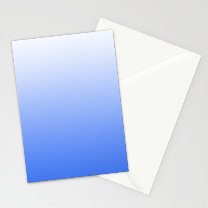 Blue and white, gradient, Ombre. Stationery Cards