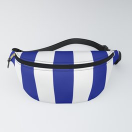 Phthalo blue - solid color - white vertical lines pattern Fanny Pack