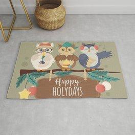 Happy Holidays Cute Winter Owls Cartoon Rug