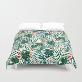 TROP DON'T STOP Tropical Palms and Monstera Duvet Cover