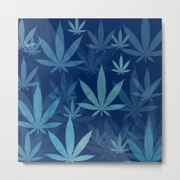 Marijuana Cannabis Weed Pot Blue Leaves Metal Print