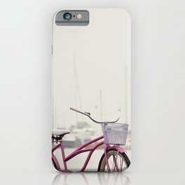 Pink Bicycle on Shore and Sailboats at Sea iPhone Case