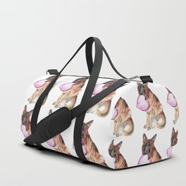 German Shepherd love , cute GSD dog watercolor with heart Duffle Bag
