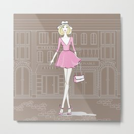 Girl in the City Metal Print