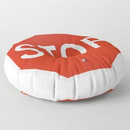 Red Traffic Stop Sign Floor Pillow