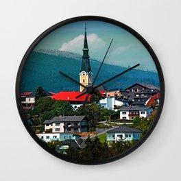 A village in autumn season Wall Clock