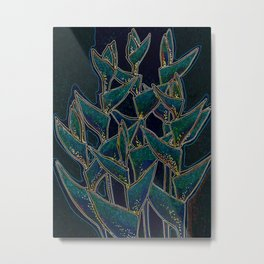 Heliconia Rostrata, Black & Neon Glow Metal Print