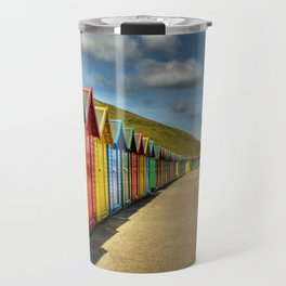 Whitby Beach Huts Travel Mug