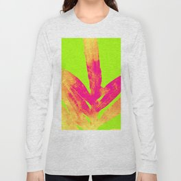 Green and Ultra Bright Coral Fern Long Sleeve T-shirt