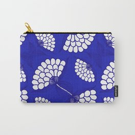 African Floral Motif on Royal Blue Carry-All Pouch