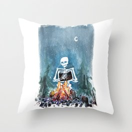 Skelly by the Campfire Throw Pillow