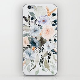 Loose Blue and Peach Floral Watercolor Bouquet  iPhone Skin