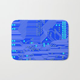 Blue Circuit Board  Bath Mat