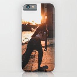 Wonderful Idyllic Girl Riding Skateboard German Parliament Romantic Sunset Ultra HD iPhone Case