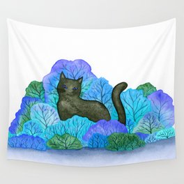 Blue Forest and Black Cat Watercolor Wall Tapestry
