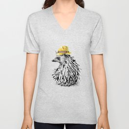 Hedgehog With Straw Hat Unisex V-Neck