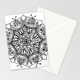 Bugs and Butterfly Zen Mandala black and white Stationery Cards