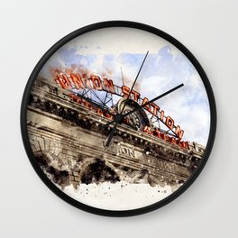 Union Station Denver CO watercolor Wall Clock
