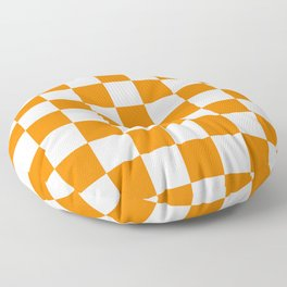 Checkered - White and Orange Floor Pillow