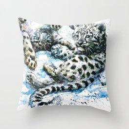 Snow leopards Nice Chap Throw Pillow
