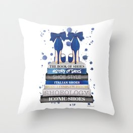Fashion books, Navy, Shoes, Gold, Beige, wall art, Fashion illustration, Fashion, Fashion wall art, Throw Pillow