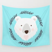 polar bear Wall Tapestries featuring polar bear by Taranta Babu