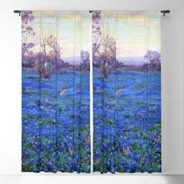 Bluebonnets at Twilight, mountain-desert landscape painting by Robert Julian Onderdonk Blackout Curtain