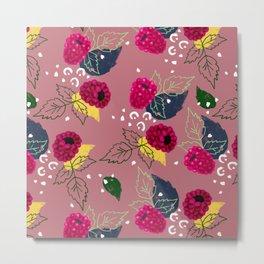 Raspberry Pattern Metal Print