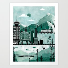 Vancouver Travel Poster Illustration Art Print