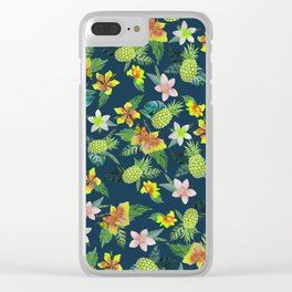 Tropical lime green coral navy blue pineapple watercolor floral Clear iPhone Case