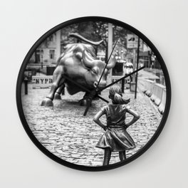 Fearless Girl & Charging Bull in the rain Wall Clock