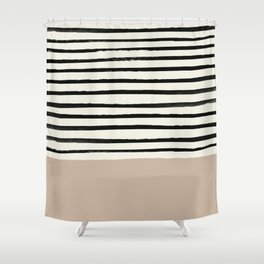 Latte & Stripes Shower Curtain