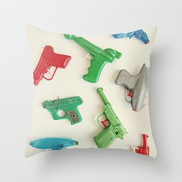 colourful vintage water guns Throw Pillow