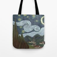 starry night Tote Bags featuring starry night by Justin McElroy