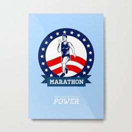 American Marathon Runner Power Poster Metal Print