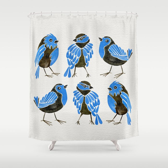 Blue Finches Shower Curtain