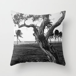 Tree in front of the sea Throw Pillow