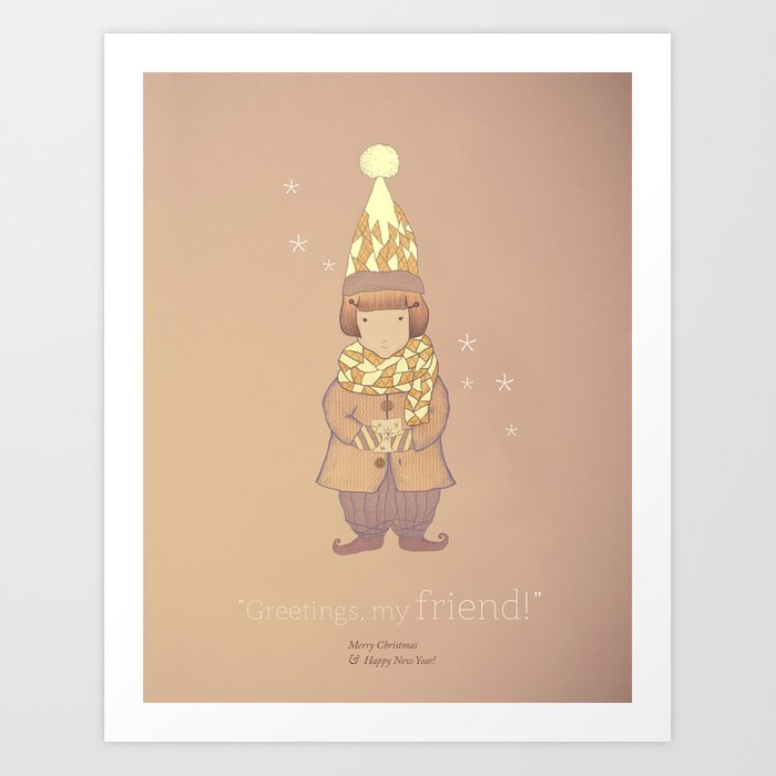 Christmas creatures- The Visiting Friend Art Print