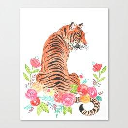 Tiger floral watercolor Canvas Print